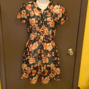 Mimi Chica Loves You Sheer Floral S/S Dress Small